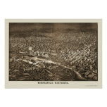 Minneapolis, mapa panorámico del manganeso - 1885 póster