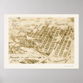 Minneapolis, mapa panorámico del manganeso - 1891 póster
