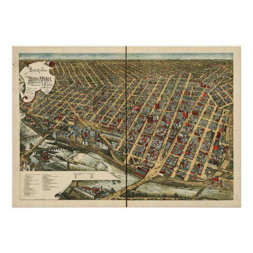 Minneapolis Minnesota 1891 Antique Panoramic Map Print