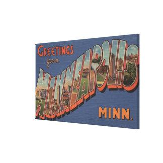 Minneapolis, Minnesota - Large Letter Scenes Canvas Print