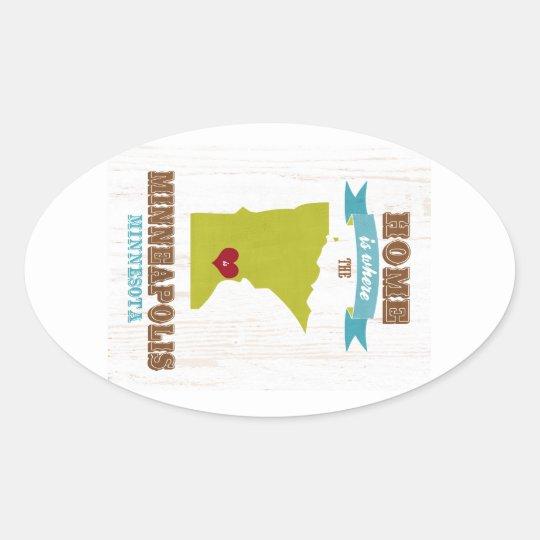 minneapolis, minnesota Map – Home Is Where Oval Sticker
