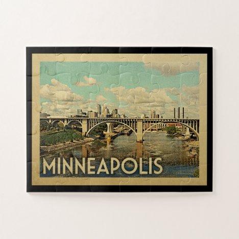 Minneapolis Minnesota Vintage Travel Jigsaw Puzzle