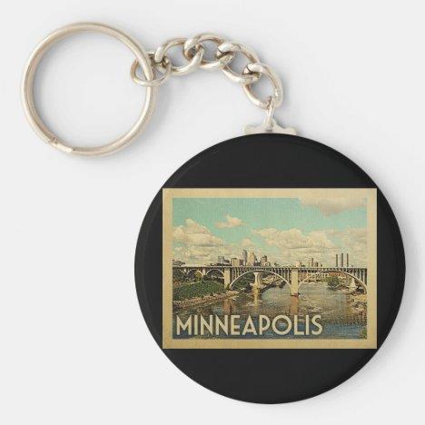 Minneapolis Minnesota Vintage Travel Keychain