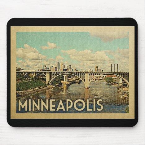 Minneapolis Minnesota Vintage Travel Mouse Pad
