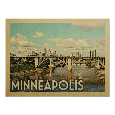 Minneapolis Minnesota Vintage Travel Poster
