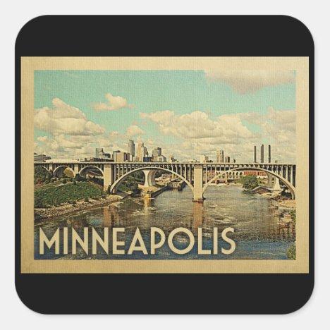 Minneapolis Minnesota Vintage Travel Square Sticker