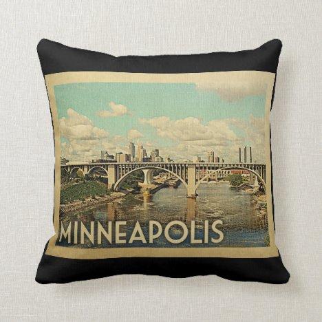 Minneapolis Minnesota Vintage Travel Throw Pillow