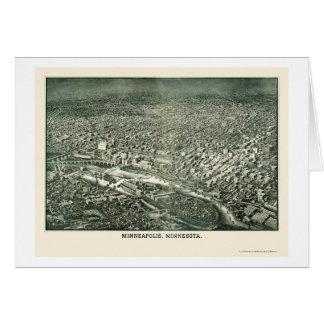 Minneapolis, MN Panoramic Map - 1879 Greeting Card