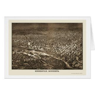 Minneapolis, MN Panoramic Map - 1885 Greeting Card