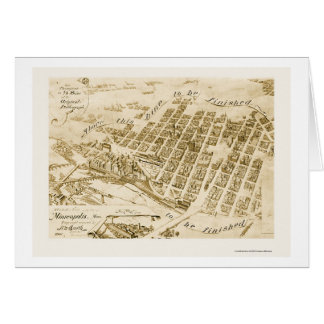 Minneapolis, MN Panoramic Map - 1891 Greeting Card
