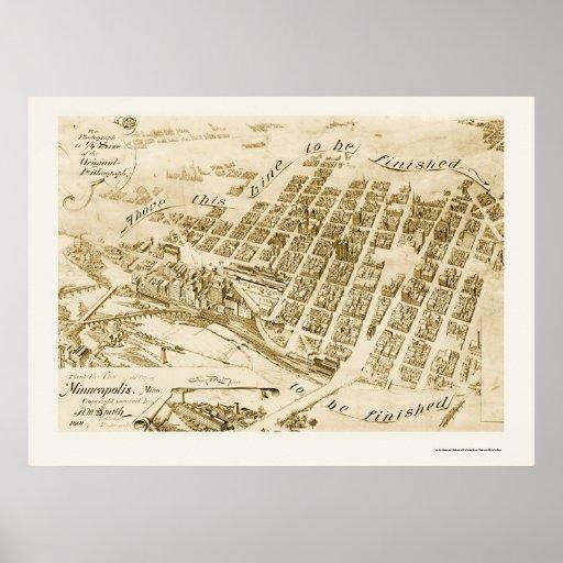 Minneapolis, MN Panoramic Map - 1891 Poster