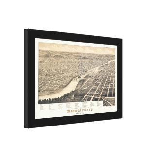 Minneapolis MN Panoramic Map DIGITALLY REMASTERED Canvas Print