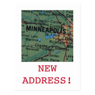 Minneapolis New Address announcement Postcard