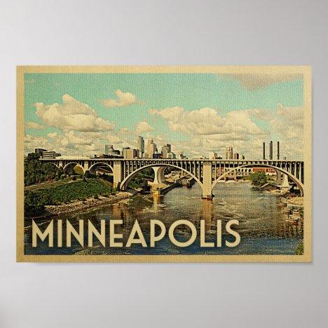 Minneapolis Poster Vintage Travel Art Minnesota