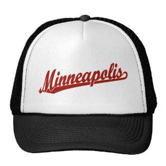 Minneapolis script logo in red trucker hat