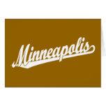 Minneapolis script logo in white cards
