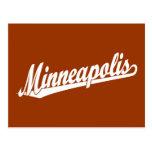 Minneapolis script logo in white postcard
