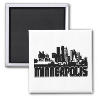 Minneapolis Skyline 2 Inch Square Magnet