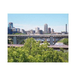 Minneapolis Skyline and Bridges Canvas Print