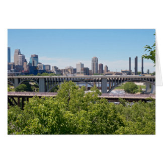 Minneapolis Skyline and Bridges Card