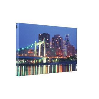 Minneapolis Skyline at Night Stretched Canvas Prints