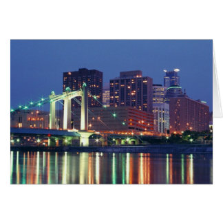 Minneapolis Skyline at night Card