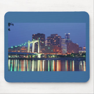 Minneapolis Skyline at night Mouse Pads