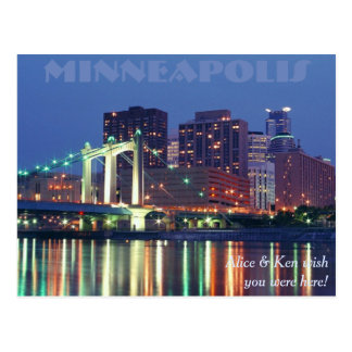 Minneapolis Skyline at night Post Card