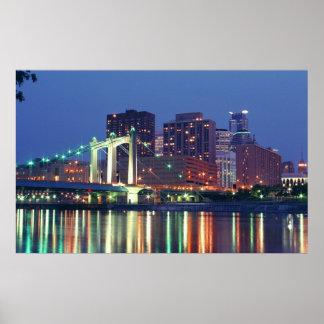 Minneapolis Skyline at night Poster