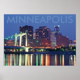 Minneapolis Skyline at night Posters