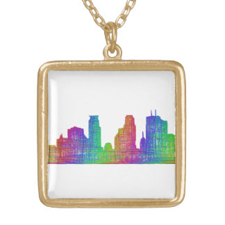 Minneapolis skyline gold plated necklace