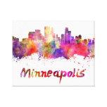 Minneapolis skyline in watercolor impresión de lienzo
