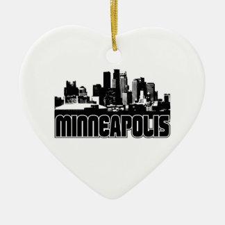 Minneapolis Skyline Double-Sided Heart Ceramic Christmas Ornament