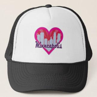 Minneapolis Skyline Sunburst Heart Trucker Hat