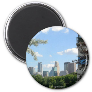 Minneapolis Skyline with Boom Island Lighthouse 2 Inch Round Magnet