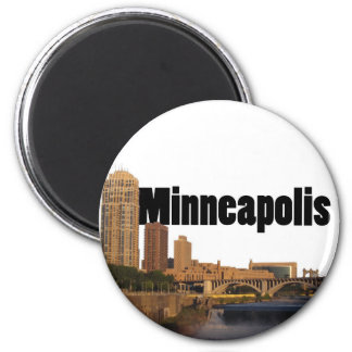 Minneapolis Skyline with Minneapolis in the Sky 2 Inch Round Magnet