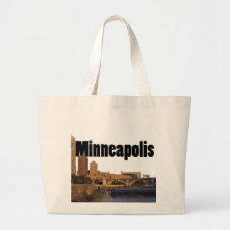Minneapolis Skyline with Minneapolis in the Sky Large Tote Bag
