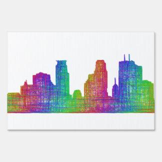 Minneapolis skyline yard sign
