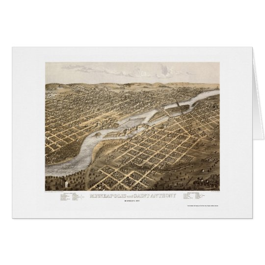 Minneapolis & St. Anthony, MN Panoramic Map - 1867 Card