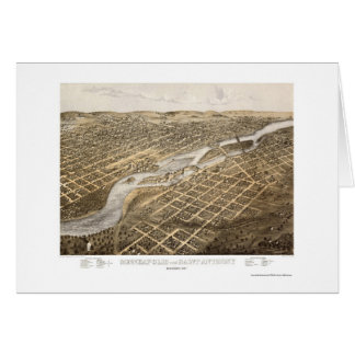 Minneapolis & St. Anthony, MN Panoramic Map - 1867 Greeting Card