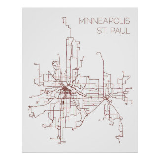 Minneapolis-St. Paul Transit Routes (Print) Poster
