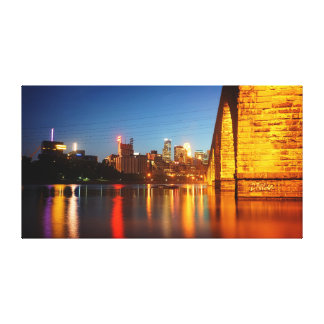 Minneapolis Stone Arch Bridge at Night Canvas Print