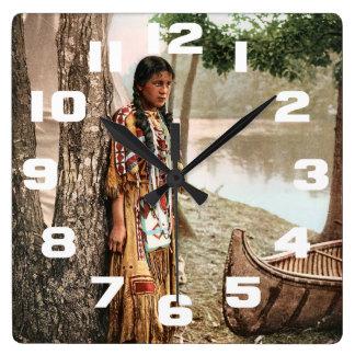 Minnehaha 1897 Native American Hiawatha Vintage Square Wall Clock