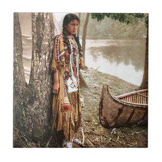 Minnehaha 1897 Native American Hiawatha Vintage Ceramic Tile