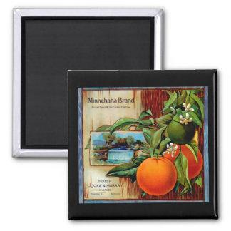 Minnehaha Oranges Produce Crate Label - Fridge Mag 2 Inch Square Magnet