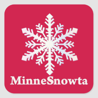 MinneSnowta con el copo de nieve Pegatina Cuadrada