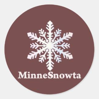 MinneSnowta con el copo de nieve Pegatina Redonda