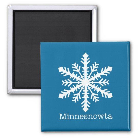 Minnesnowta Snowflake 2 Inch Square Magnet
