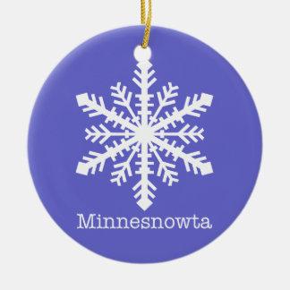 Minnesnowta Snowflake Double-Sided Ceramic Round Christmas Ornament