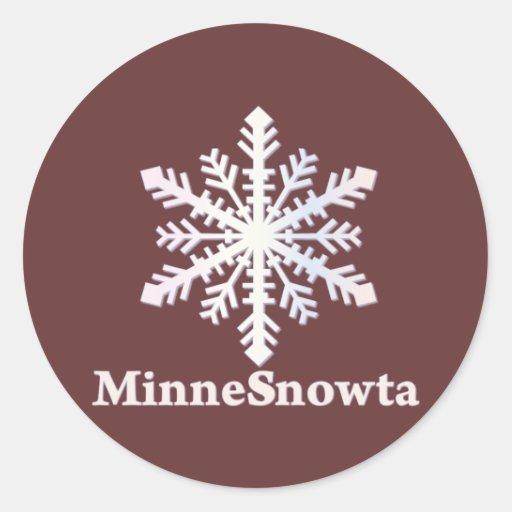 MinneSnowta with Snowflake Classic Round Sticker